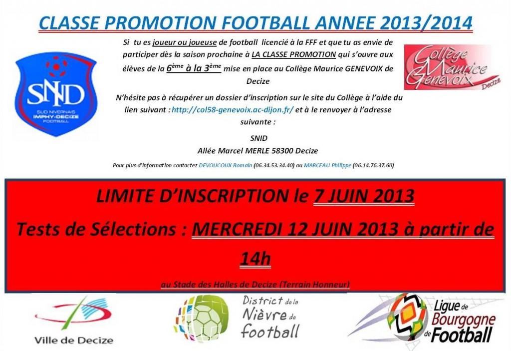 TESTS de séléction Classe Foot le 12 juin à 14h stade des Halles Decize classe-foot-2013